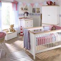 Izziwotnot Hemingway II - 5 Piece Nursery Furniture This gorgeous Shaker-style Hemingway furniture in pristine white with solid beech trim has been designed to last from baby through to childhood. The range consists of a cotbed changing unit wardrobe http...