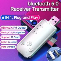 bluetooth 5.0 Wireless Dongle Adapter Receiver Transmitter USB AUX FM Output Support Navigation for Computer PC Laptop