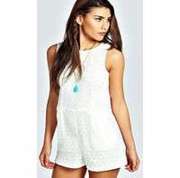 boohoo Elyse Crochet Sleeveless Playsuit - ivory azz25655 This season all-in-ones are all- about-attitude. Look polished in a pinstripe playsuit , or play on pretty in petal prints. Slouchy styles take centre stage, sheer inserts are something to shout ab...