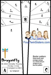 Free Paper Piecing Quilt Patterns | Dragonfly Free Quilt Pattern by Four Twin Sisters