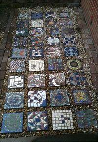 mosaic garden, garden stones and mosaic tiles.
