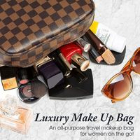 Luxury Checkered Travel Makeup Bag for Women, Cosmetics, Toiletries PU Leather $19.87 Sale