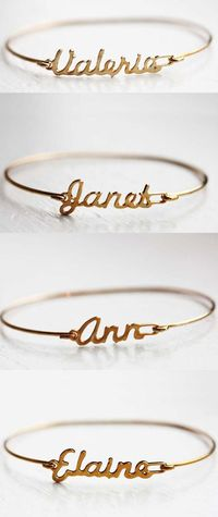 Custom Name Bracelets for bridesmaids gifts ... #Wedding #ideas for brides, grooms, parents & planners https://itunes.apple.com/us/app/the-gold-wedding-planner/id498112599?ls=1=8 �€� plus how to organise an entire wedding, within ANY budget �...