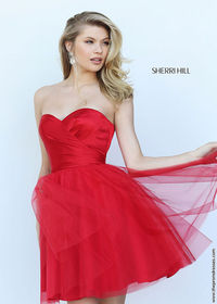 Lovely Red Satin Strapless Sweetheart Mini Prom Dress With Ruching