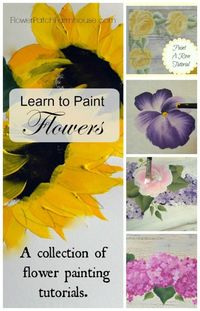 How to paint flowers one stroke at a time, Free tutorials with videos! Painting reduces stress and can help with depression. Lets get Happy!