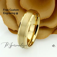 Gold Tungsten Wedding Band Men, Custom Engraving 6mm Domed Tungsten Ring Men, Tungsten Carbide Mens Promise Ring, Couple Gift $73.00