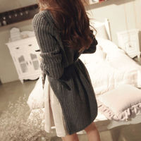 Stylish Elegant Solid Color Cropped High-low Knit Sweater