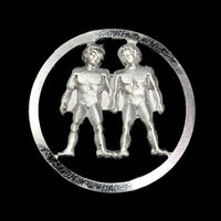 Vintage Zodiac Gemini the Twins Silver Pendant Astrology Jewelry $33.33
