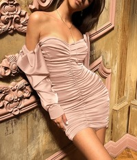 Off Shoulder Ruched Satin Bodycon Dress-Pink at www.fashionsqueen.com