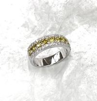 Yellow diamonds cushion cut and round white pave diamond band $2500.00