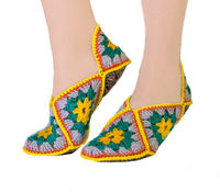 Knitted warm slippers as crochet gift for mom, boho shoes socks. Slippers size 6 7 8 $35.00