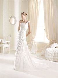 A-line one shoulder court train chiffon wedding dresses