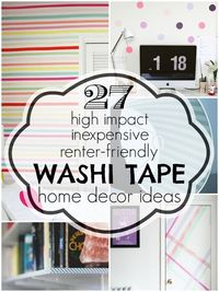 Japanese paper tape is inexpensive and comes in a variety of colors and patterns. Get some renter-friendly washi tape home decor ideas to jazz up your home.