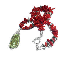 Natural Variscite Mineral Pendant Necklace | Red Coral Bead | Silver Peak Nevada Turquoise and Variscite Jewelry $36.50