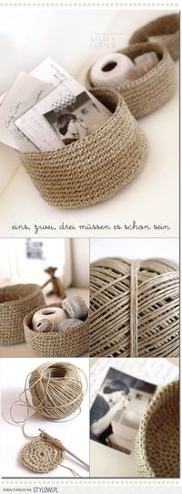 knit and crochet / Crocheted storage bowls from packing�€� na Stylowi.pl