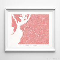 Porto Alegre, Brazil Street Map Horizontal Print by Inkist Prints - Available at https://www.inkistprints.com