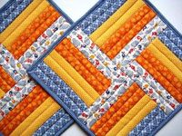 Quilted Patchwork Mug Rugs rail fence design