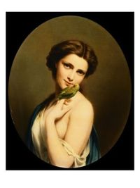 A Young Beauty with a Parakeet Giclee Print