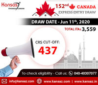 Applicants under the Federal Program submit an online profile to the Express Entry Pool in order to receive an invitation to apply for PR in Canada. Latest Canada Express Entry Draw (152nd Draw) was conducted on June 11th 2020, about 3559 applican...