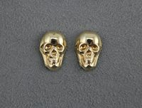 Polished Brass Skull Magnetic Non Pierced Earrings $35.00 Designed by LauraWilson.com