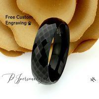 Mens 6mm Black Tungsten Wedding Band Ring, Faceted Tungsten Black Domed Ring, Black Tungsten Promise Ring For Men, Tungsten Engagement Ring $66.00