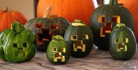Minecraft Creeper Green Jack O' Lanterns for Halloween!