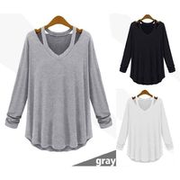 Women's Fashion Casual Long Sleeve V-Neck Cotton Tee Tank Top T Shirt Loose Blouse Plus Size Tops $39.95