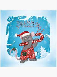 Christmas Santa Mouse Tunes Throw Pillow
