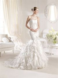 Romantic mermaid strapless lace sweep train wedding dresses MSKY00255