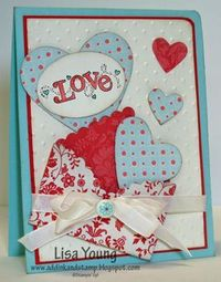 1. Use the Big Shot and Hearts Framelits to cut a heart from dsp. 2. Fold the heart on each side as shown. 3. Fold the bottom part of the heart up. 4. Go back to step 2 and add adhesive under and on each side flap. Then fold the bottom up again. 5. If you...