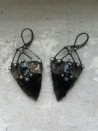 Earrings from Natural Stone- Obsidian and snow Obsidian, Necklace, Witchcraft Jewelry For Men and Women, Shamanic Jewelry $60.00