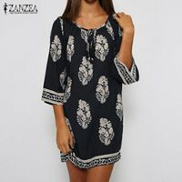ZANZEA Women Mini Print Dress 2017 Sexy Retro Elegant Dresses Lace Up Long Tops Casual Loose Beach Vestidos Plus Size S-5XL $31.00
