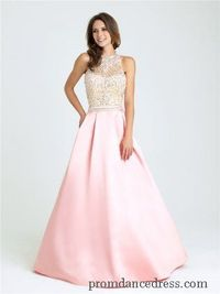 Madison James 16-397 High Neck Beaded Ball Gown Prom Dresses