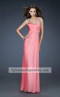 Floor Length Chiffon Coral Sweetheart Homecoming Dress With Open V-Back