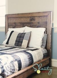 The Hailey Planked DIY headboard from Shanty2Chic has a cool masculine quality. Great step-by-step instructions, too. #DIY #headboard