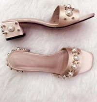 Apoepo Brand Thick Heels Summer Slipper 2017 newest open toe pearl embellished sexy sandal fashion rivets studded shoes
