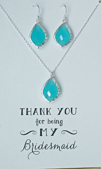 Mint Jewelry set for Bridesmaids, Mint Blue Necklace Earrings Set Silver, Mint Blue Bridesmaid Necklace and earrings, MP1 $49.50
