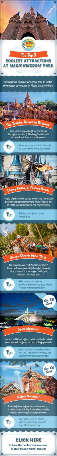 Check out the Top 5 Coolest Attractions at Magic Kingdom Park and get ready to have the Coolest Summer Ever as you plan your family vacation at Walt Disney World! Whether you are craving thrills on Big Thunder Mountain Railroad or Space Mountain, looking ...