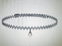 Platinum Woven Choker with Pearl Necklace $26.00