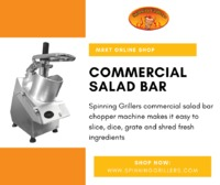 Spinning Grillers commercial salad bar chopper machine makes it easy to slice, dice, grate and shred fresh ingredients. It is great for making cabbage slaw, lettuce, Arabic Salad, Greek Salad, Cub tomatoes, cucumber onions, etc.