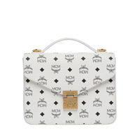 MCM Medium Patricia Visetos Satchel In White