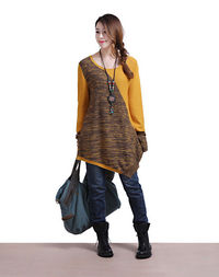 ASYMMETRIC YELLOW STITCHING CASUAL LONG-SLEEVED SWEATER