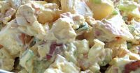 "Red Skinned Potato Salad | ""We made this for the Super Bowl to serve along with ribs, and it came out great. I used a red onion just because that's our personal preference and added a tiny bit of yellow mustard too. We loved it and will definitel..."