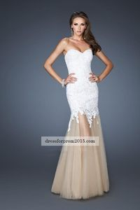 2015 Strapless White Long Lace Formal Prom Dresses Cheap