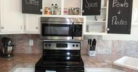 Chalkboard cabinet door backs. Not only cute but, a great solution for the kids.