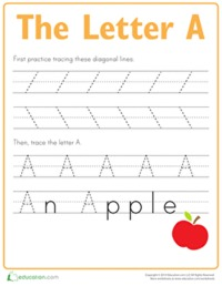 Letter A tracing sheet