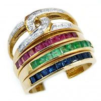 18K Yellow Gold Diamond and Emerald Sapphire Ruby Stack Ring [RT0001]