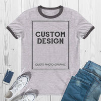 Personalized Ringer T-Shirt - Lightweight Ringer Tee Customize With your photo - Logo - Graphic custom text quote $23.09