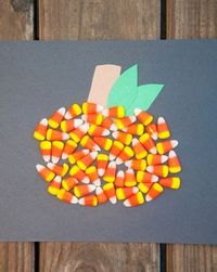 This Halloween, encourage your child to create a super sweet mosaic. She'll make a candy corn pumpkin and then decide if she wants to eat it, or keep it!