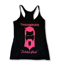 "THIGHBRUSH® - ""Tickled Pink"" - Women's Tank Top - Heather Black and Pink"